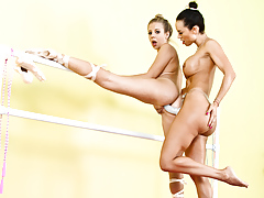 Two ballerina are doing some lesbo strap-on anal astonishingly