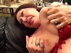 Slutty with strapon fucks lesbian fatty on sofa