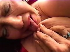 Hot redhead slut with strapon fucks lesbo granny