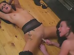 Lezzie pussy gets stuffed w candle